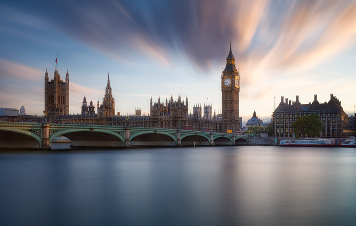 Clouds streaking above the Houses of Parliament in London during sunset