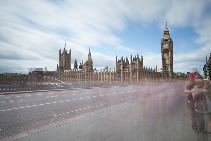 85 second exposure taken on Westminster bridge with blurred clouds