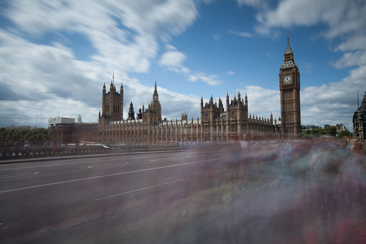 16 second exposure of Westminster and Big Ben with blurred people in Foreground