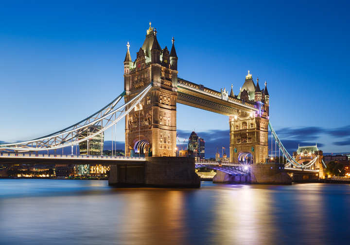 Tower Bridge in London wonderfully lit during blue hour