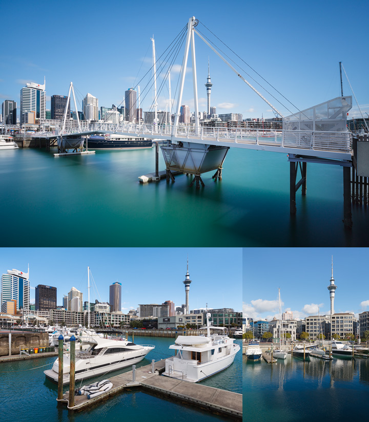 Photos of Aucklands Skyline and harbour on a sunny day