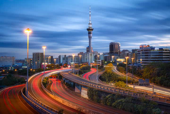 View of Auckland Skyline with southern Moterway at dawn
