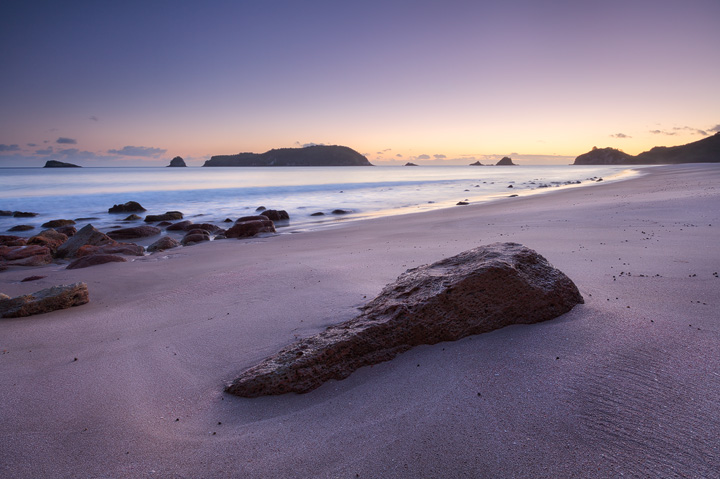 Colorful sunrise at beautiful Hahei beach at Coromandel Peninsula