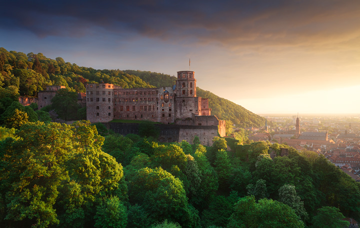 The old Heidelberg castle overlooking the city during sunset