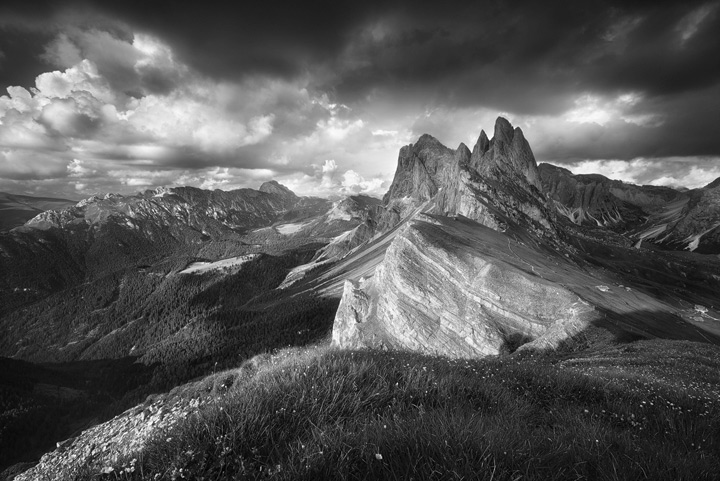 View from Seceda towards jagged dolomite peaks