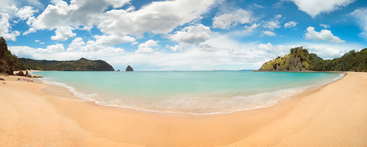 A Panoramic view of New Chums Beach in northern Coromandel