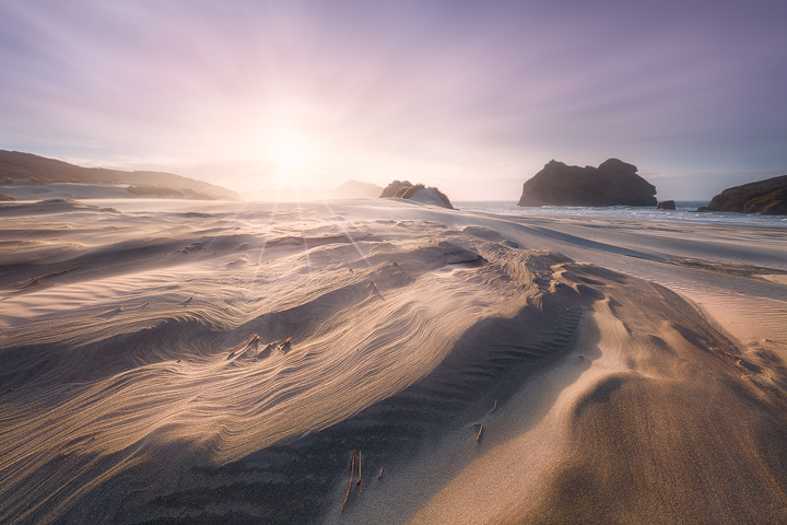 Sand structures at a spectacular beach in New Zealand during sunset
