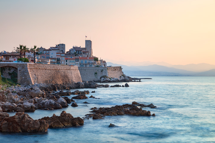 Coastal view of Antibes old Town at Cote d'Azur