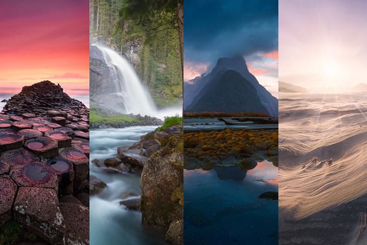 four unique landscape photos