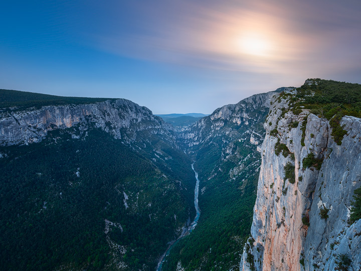 A full moon over the deep Verdon Canyon