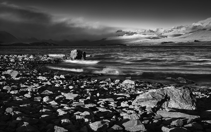 Dramatic light at shores of Lake Tekapo