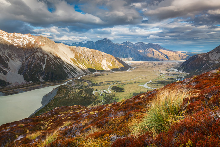 Magnificent view from the Sealy Tarns towards a wide valley below