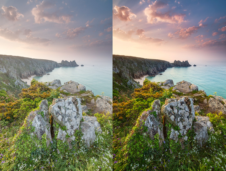 Comparison between raw and processed photo