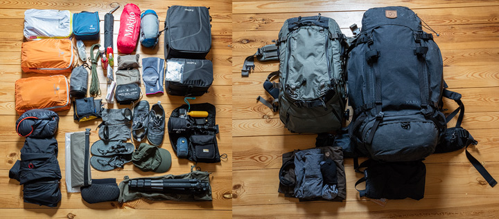 photo of all the stuff I plan to take on the journey around the world