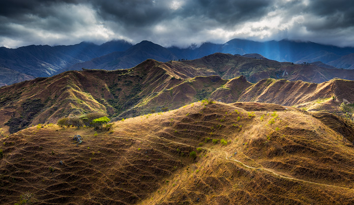 The hills east of Vilcabamba bathed in sunlight