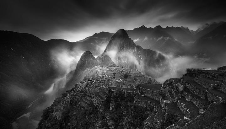Rainy morning at the Inca Ruins of Machu Picchu