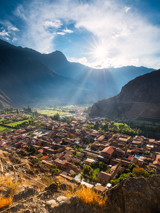 View of Ollantaytambo and Inca ruins in late afternoon light