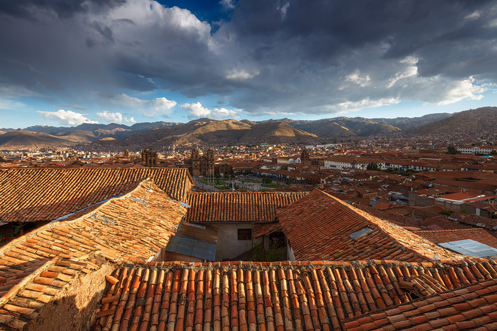 Sunset light on the rooftops of Cusco