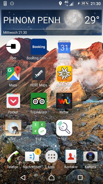 screenshot of travel app icons on android phone