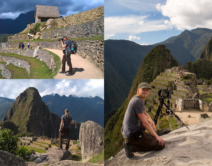 photographer scouting in inca ruins