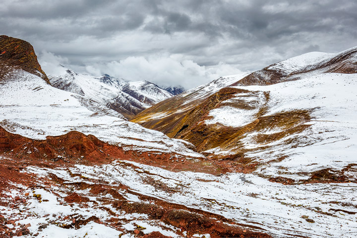 Snow covered andean mountains