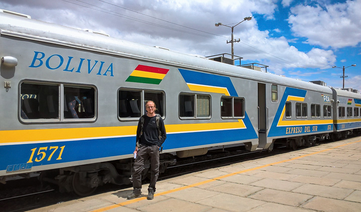 A bolivian train running from Oruro to Tupiza