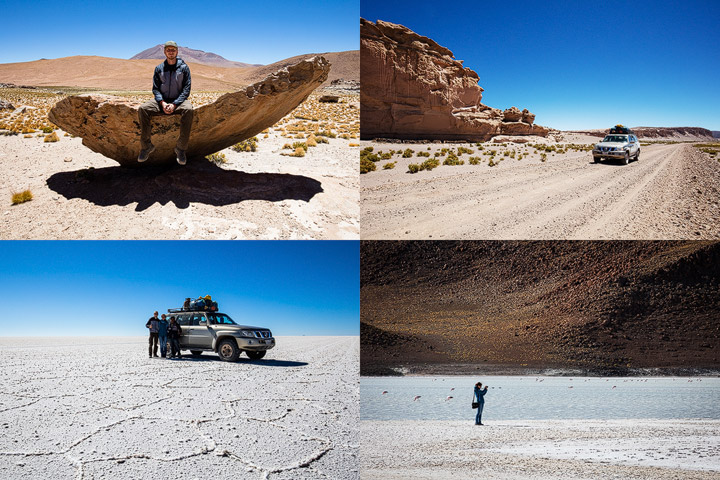 Collage of photos from our Jeep tour through Bolivia