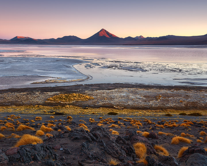 Sunset over the barren landscape of southern Bolivia