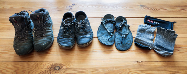 Selection of travel shoes