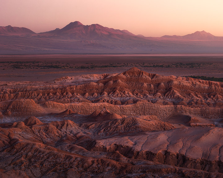 The red glowing mountains of the Atacama desert