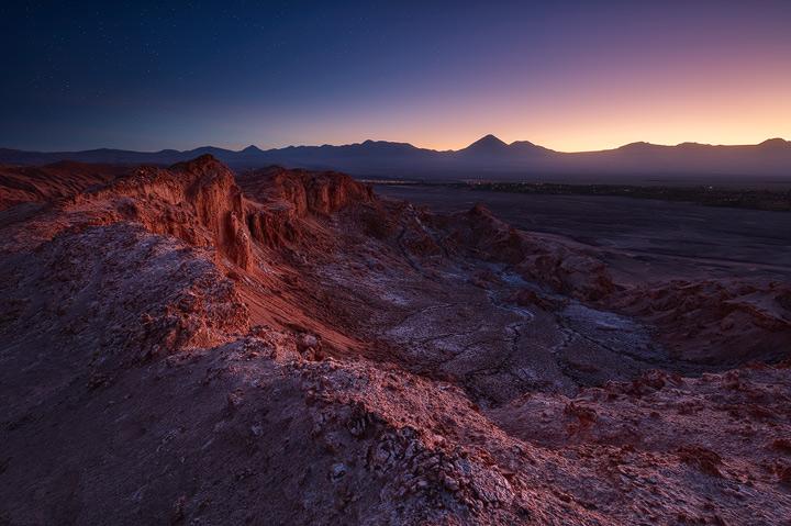 Overlooking the Atacama Desert near San Pedro during twilight