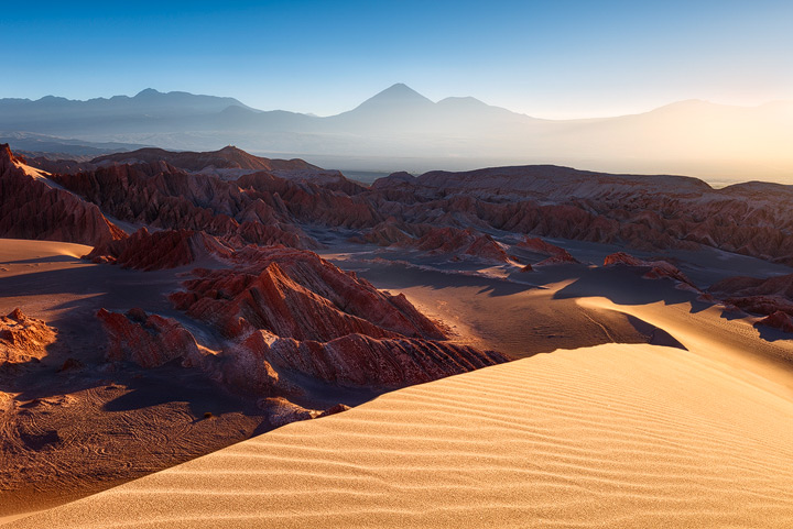 Dunes and mountains of Mars valley