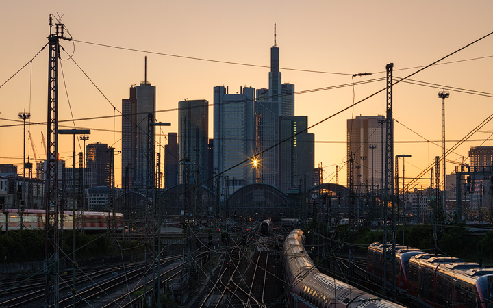 Frankfurt Skyline with train station during sunrise