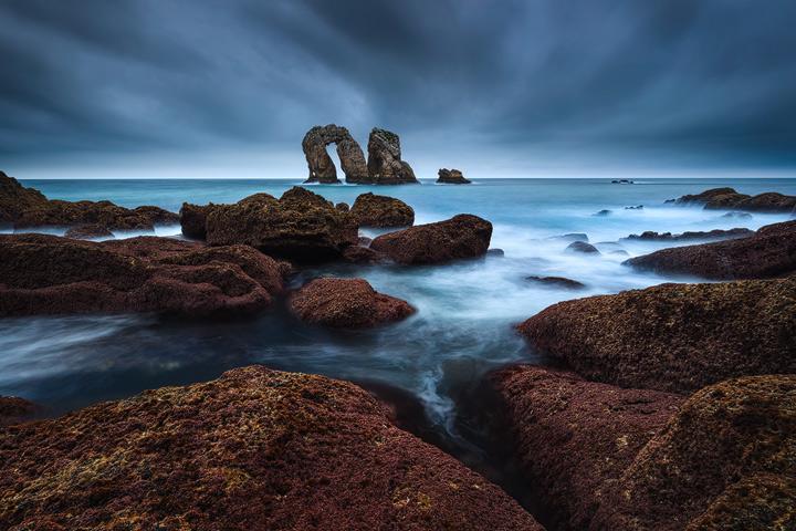 The rocky coastline of the Costa Quebrada