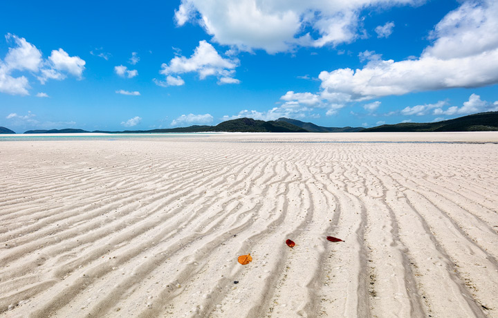 The white sands of Whitehaven Beach on a sunny day