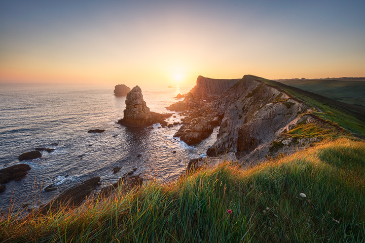 Sunrise on the cliffs of the Costa Quebrada in northern Spain