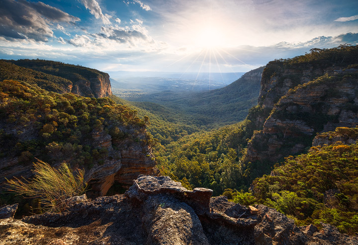 A deep canyon in the Blue Mountains of Australia, bathed in evening light
