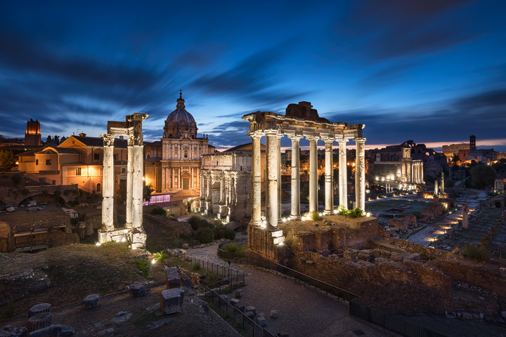 The Forum Romanum during blue hour