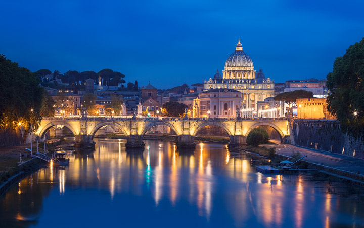 Blue hour view of the Vatican in Rome