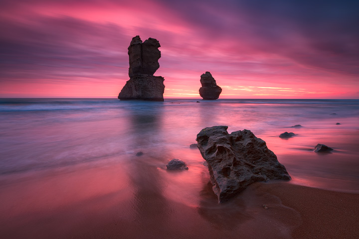 Colorful sunset above the Gibson Steps on the Great Ocean Road