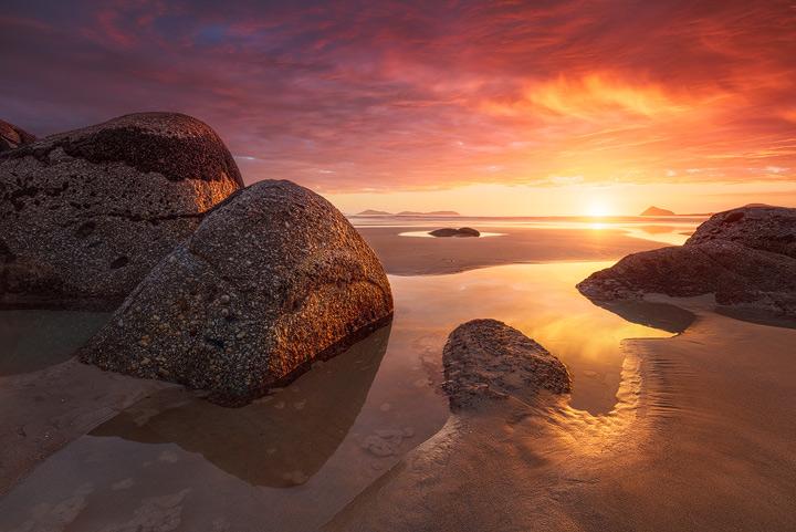 Whisky Bay in golden sunset light