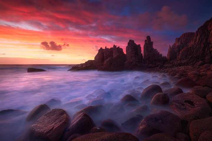 The Pinnacles rock formation on Phillip Island during sunset