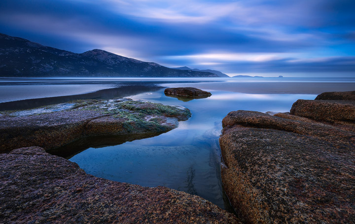 Blue hour photo of Tidal River Beach in Wilsons Promontory