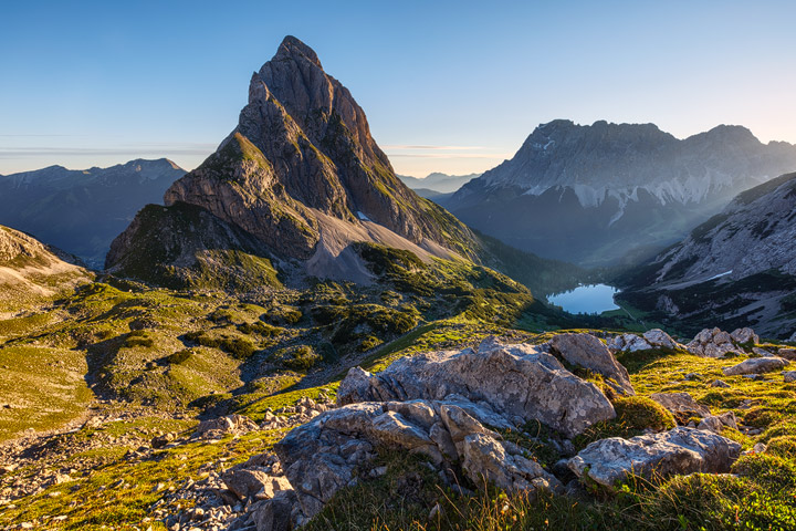 The Sonnenspitze Mountain after sunrise
