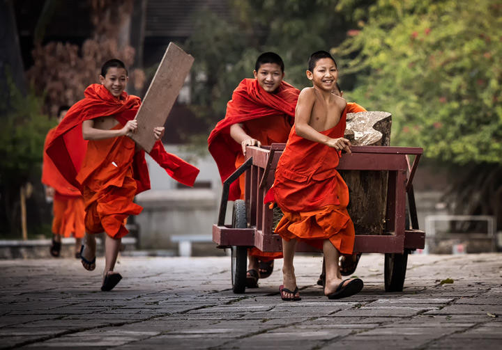 Playing monks in Luang Prabang