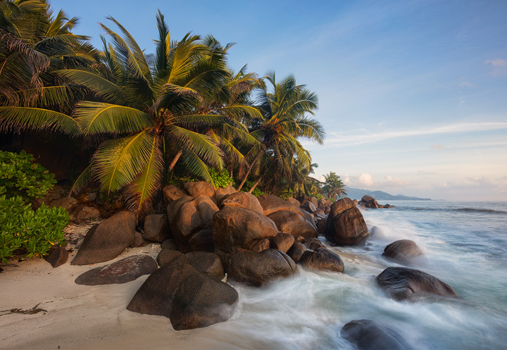 Palm trees and granite rocks line the coast of Mahe