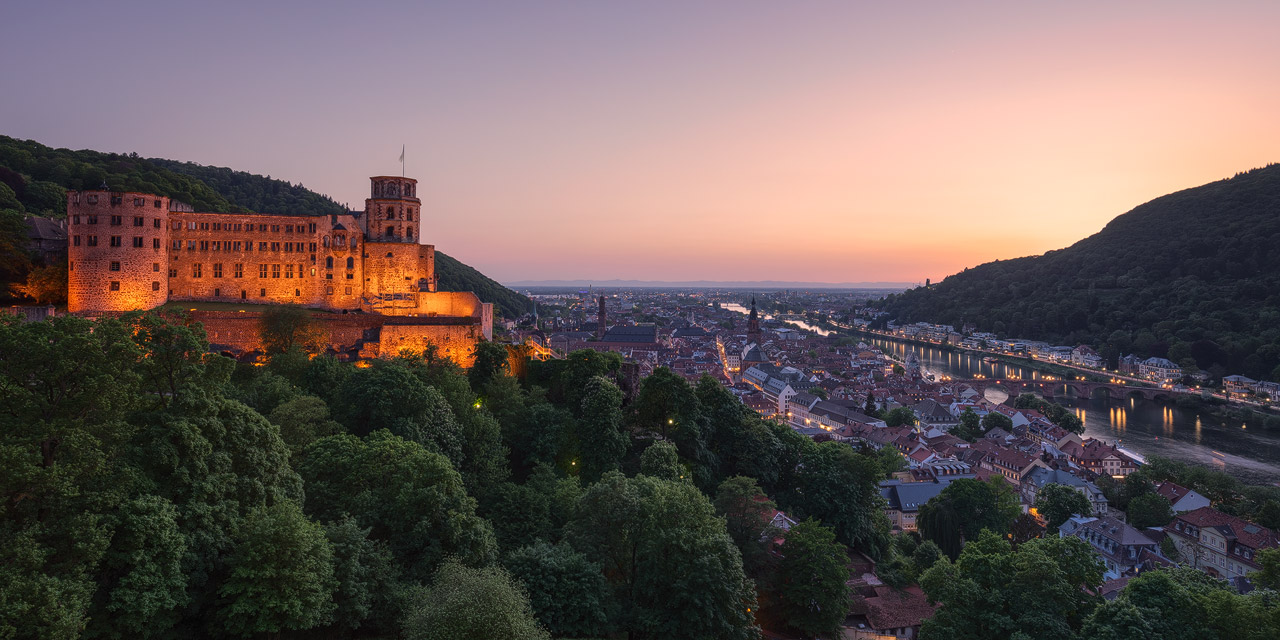 Twilight scene from Heidelberg with the castle lit up