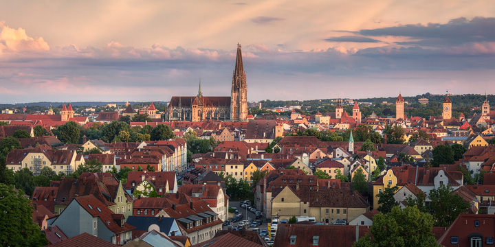 View of Regensburg during sunset