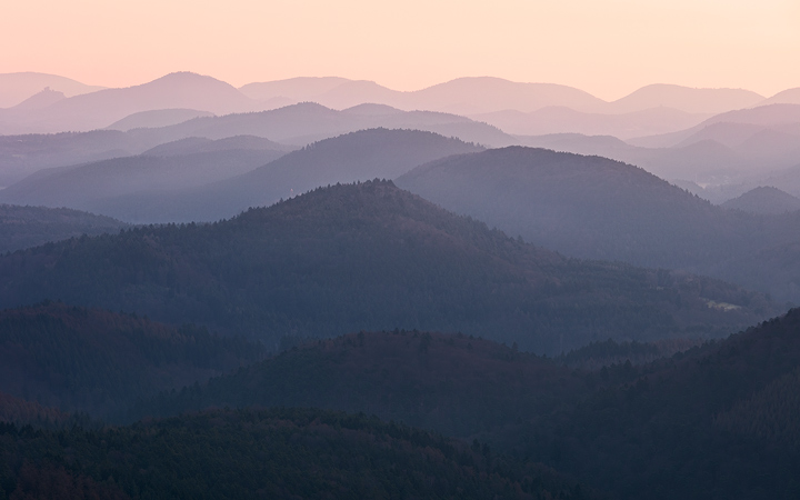 Layers of mountians in the Palatinate Forest in soft morning light