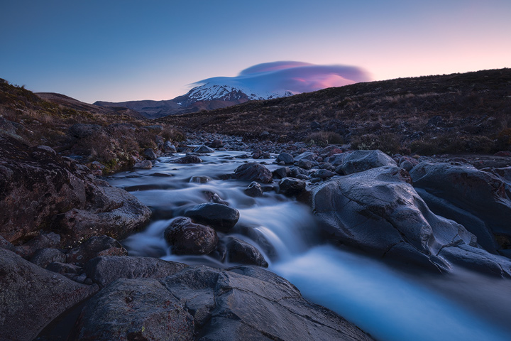 A river beneath Mount Ruapehu during Twilight